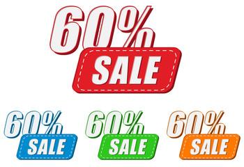 60 percentages sale, four colors labels