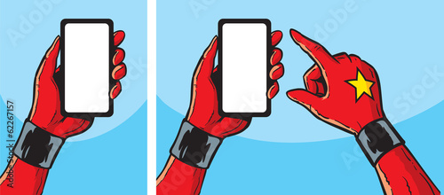 Superheroine with smartphone