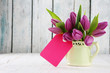 tulips with card