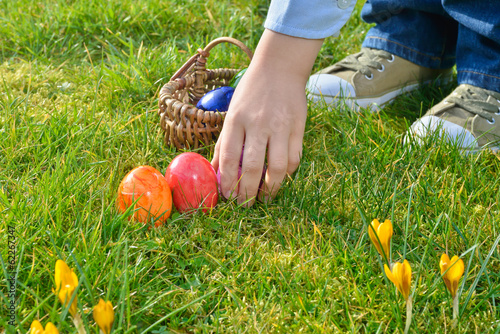 Easter egg hunt on a sunny Easter morning