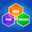 idea, plan, success in hexagons, flat design