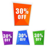 30 percentages off, four colors labels