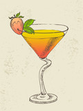 Hand drawn illustration of tropical cocktail with mint.