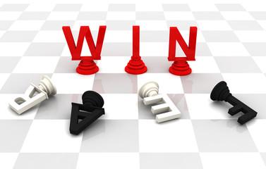 Win Fear Chess word 3D render