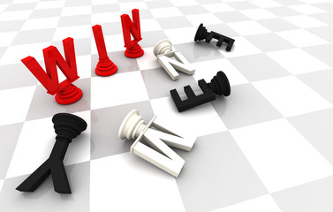 Win Enemy Chess word 3D render