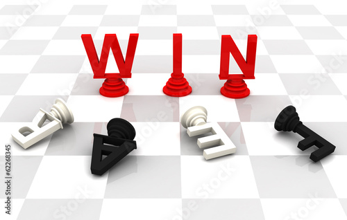 Win Fear Chess word 3D render