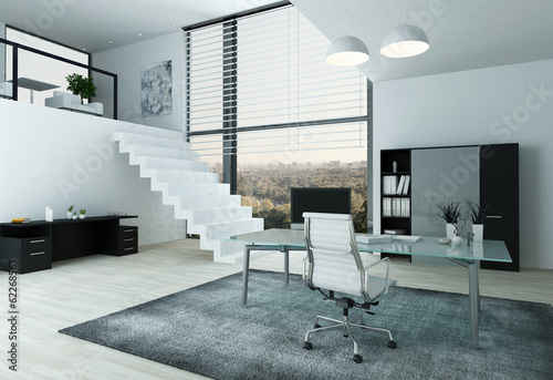 Modern office interior with desk