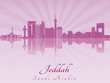 Jeddah skyline in purple radiant orchid