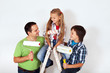 Kids and father with paint rollers and painting ladder