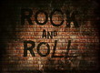 Rock and roll music word on red wall background