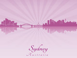 Sydney skyline in purple radiant orchid