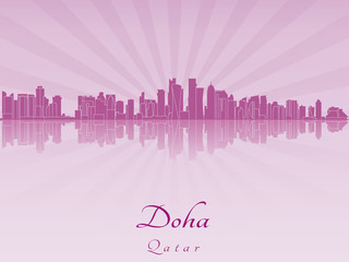 Doha skyline in purple radiant orchid