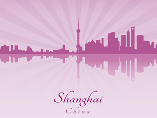 Shanghai skyline in purple radiant orchid