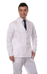 Retrato de un médico,doctor en fondo blanco.