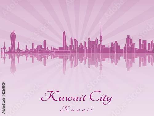 Kuwait City skyline in purple radiant orchid