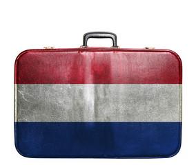 Vintage travel bag with flag of Netherlands