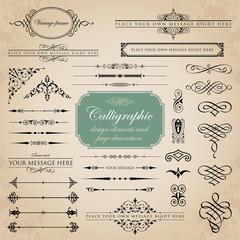 Calligraphic design elements and page decoration set 4