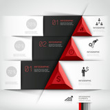 3d modern business steb origami style options banner. Vector ill