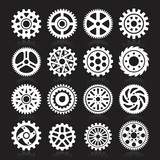 Set of gear icons on black background.