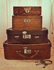 Old suitcases and boxes stacked