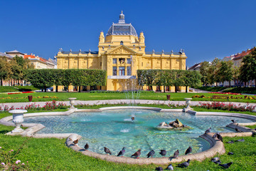 Colorful Zagreb park fountain scene