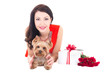 beautiful woman lying with little dog yorkshire terrier, gift bo