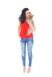 young beautiful woman kissing his little dog yorkshire terrier i