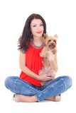 beautiful woman sitting with his little dog yorkshire terrier is