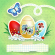 Easter background with eggs and butterfly, in green