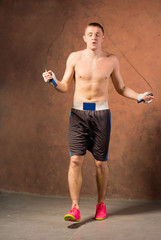 Boxer training using a skipping rope