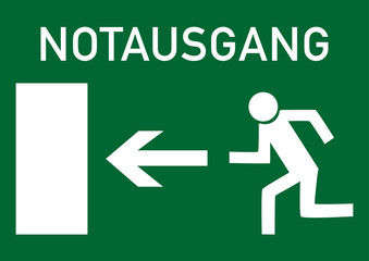 Schild Notausgang links