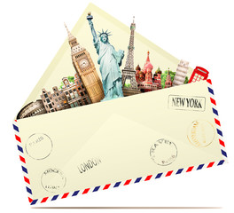 Travel in the envelope, the letter to the tourist attractions