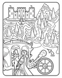 Vector Coloring Book Page with Castle Carriage Princess Augusta