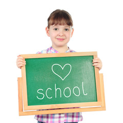 Little girl with chalkboard isolated on white
