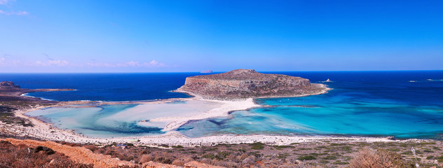Panoramic view of Balos bay, Crete, Greece.