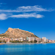 canvas print picture - Alicante Postiguet beach and castle Santa Barbara in Spain