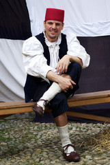 Participant of medieval costume party