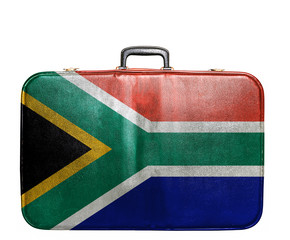 Vintage travel bag with flag of South Africa