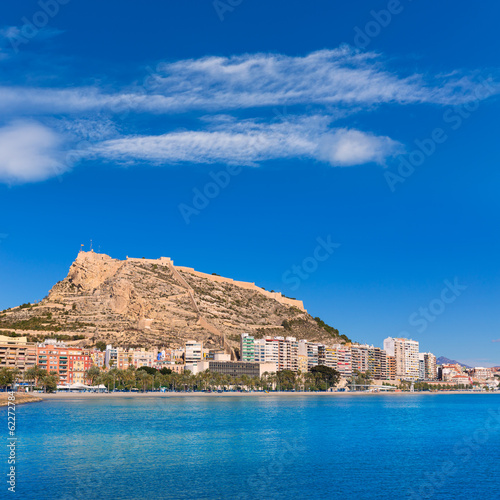 canvas print picture Alicante Postiguet beach and castle Santa Barbara in Spain
