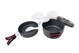Set of compact tourist camping tableware with folding handles