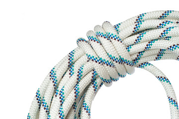 Close up of bight of rope using in speleo activity and working o
