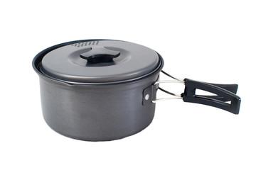 Tourist camping saucepan with folding handles