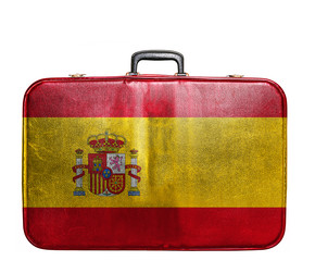 Vintage travel bag with flag of Spain