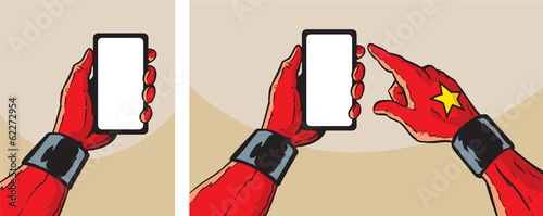 Super Hero with smartphone