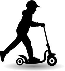 boy rides scooter vector illustration
