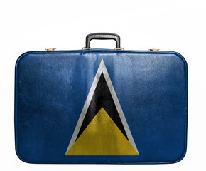 Vintage travel bag with flag of St Lucia