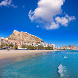Alicante Postiguet beach and castle Santa Barbara in Spain