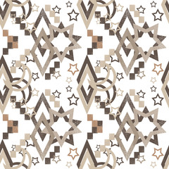 Seamless abstract pattern with stars and rhombus on white