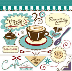 Vector Art Collection Hot Cafe Coffee Shop Sweet Elements