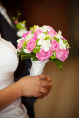 bridal bouquet made ​​of pink roses